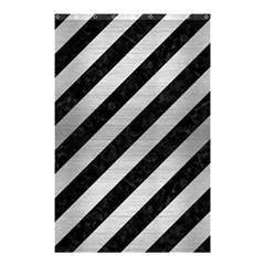 Stripes3 Black Marble & Silver Brushed Metal Shower Curtain 48  X 72  (small)