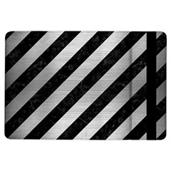 Stripes3 Black Marble & Silver Brushed Metal Apple Ipad Air Flip Case by trendistuff