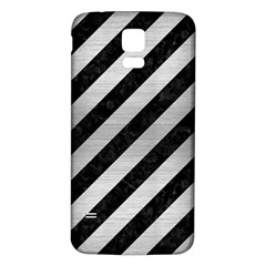 Stripes3 Black Marble & Silver Brushed Metal Samsung Galaxy S5 Back Case (white) by trendistuff