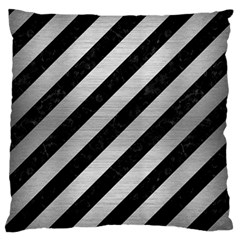 Stripes3 Black Marble & Silver Brushed Metal Standard Flano Cushion Case (one Side) by trendistuff