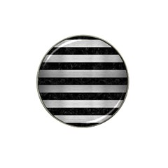 Stripes2 Black Marble & Silver Brushed Metal Hat Clip Ball Marker by trendistuff