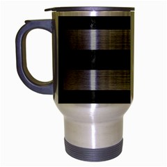 Stripes2 Black Marble & Silver Brushed Metal Travel Mug (silver Gray) by trendistuff