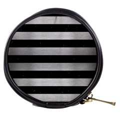 Stripes2 Black Marble & Silver Brushed Metal Mini Makeup Bag