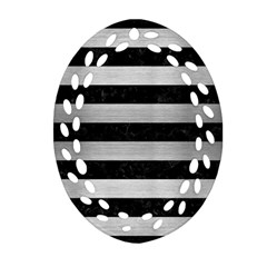 Stripes2 Black Marble & Silver Brushed Metal Ornament (oval Filigree) by trendistuff