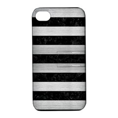 Stripes2 Black Marble & Silver Brushed Metal Apple Iphone 4/4s Hardshell Case With Stand by trendistuff