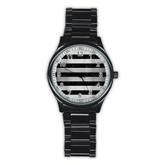 Stripes2 Black Marble & Silver Brushed Metal Stainless Steel Round Watch by trendistuff