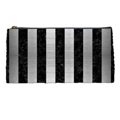 Stripes1 Black Marble & Silver Brushed Metal Pencil Case by trendistuff