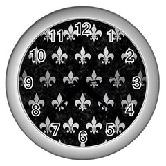 Royal1 Black Marble & Silver Brushed Metal (r) Wall Clock (silver) by trendistuff