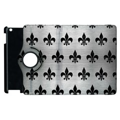 Royal1 Black Marble & Silver Brushed Metal Apple Ipad 2 Flip 360 Case by trendistuff