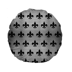 Royal1 Black Marble & Silver Brushed Metal Standard 15  Premium Flano Round Cushion  by trendistuff