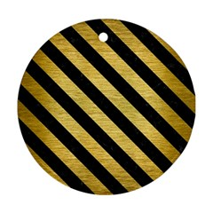 Stripes3 Black Marble & Gold Brushed Metal (r) Round Ornament (two Sides) by trendistuff