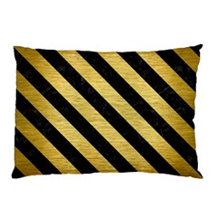 Stripes3 Black Marble & Gold Brushed Metal (r) Pillow Case by trendistuff