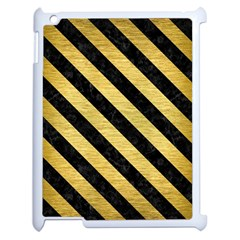 Stripes3 Black Marble & Gold Brushed Metal (r) Apple Ipad 2 Case (white) by trendistuff