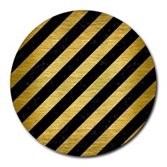 Stripes3 Black Marble & Gold Brushed Metal Round Mousepad by trendistuff