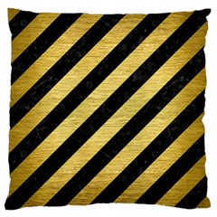 Stripes3 Black Marble & Gold Brushed Metal Large Cushion Case (two Sides) by trendistuff