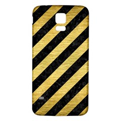 Stripes3 Black Marble & Gold Brushed Metal Samsung Galaxy S5 Back Case (white) by trendistuff