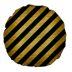 Stripes3 Black Marble & Gold Brushed Metal Large 18  Premium Flano Round Cushion  by trendistuff