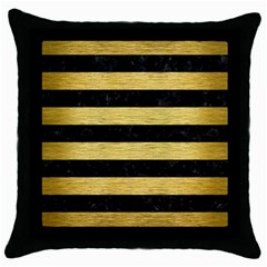 Stripes2 Black Marble & Gold Brushed Metal Throw Pillow Case (black) by trendistuff