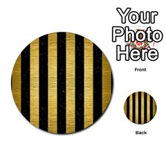 Stripes1 Black Marble & Gold Brushed Metal Multi Purpose Cards (round)