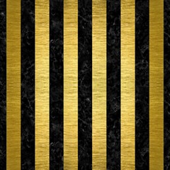 Stripes1 Black Marble & Gold Brushed Metal Magic Photo Cube
