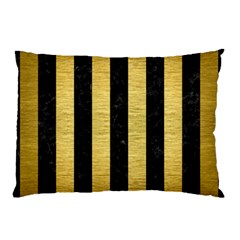 Stripes1 Black Marble & Gold Brushed Metal Pillow Case (two Sides) by trendistuff