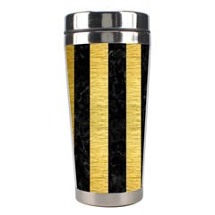 Stripes1 Black Marble & Gold Brushed Metal Stainless Steel Travel Tumbler by trendistuff