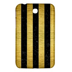 Stripes1 Black Marble & Gold Brushed Metal Samsung Galaxy Tab 3 (7 ) P3200 Hardshell Case  by trendistuff