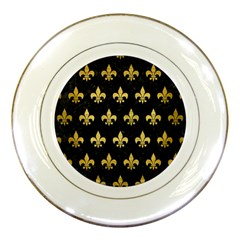 Royal1 Black Marble & Gold Brushed Metal (r) Porcelain Plate by trendistuff