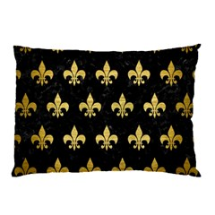Royal1 Black Marble & Gold Brushed Metal (r) Pillow Case by trendistuff