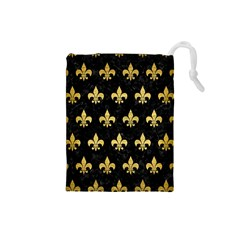 Royal1 Black Marble & Gold Brushed Metal (r) Drawstring Pouch (small) by trendistuff