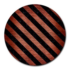 Stripes3 Black Marble & Copper Brushed Metal (r) Round Mousepad by trendistuff