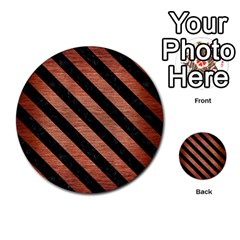 Stripes3 Black Marble & Copper Brushed Metal (r) Multi Purpose Cards (round) by trendistuff