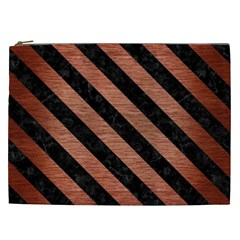 Stripes3 Black Marble & Copper Brushed Metal (r) Cosmetic Bag (xxl) by trendistuff