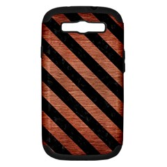 Stripes3 Black Marble & Copper Brushed Metal (r) Samsung Galaxy S Iii Hardshell Case (pc+silicone) by trendistuff