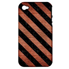 Stripes3 Black Marble & Copper Brushed Metal (r) Apple Iphone 4/4s Hardshell Case (pc+silicone) by trendistuff