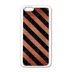 Stripes3 Black Marble & Copper Brushed Metal (r) Apple Iphone 6/6s White Enamel Case by trendistuff