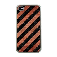 Stripes3 Black Marble & Copper Brushed Metal Apple Iphone 4 Case (clear) by trendistuff