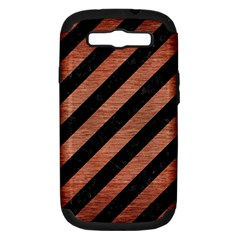 Stripes3 Black Marble & Copper Brushed Metal Samsung Galaxy S Iii Hardshell Case (pc+silicone) by trendistuff