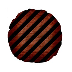 Stripes3 Black Marble & Copper Brushed Metal Standard 15  Premium Flano Round Cushion  by trendistuff