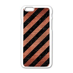 Stripes3 Black Marble & Copper Brushed Metal Apple Iphone 6/6s White Enamel Case by trendistuff