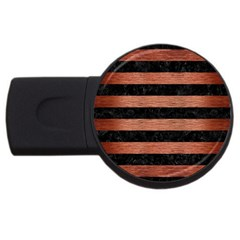 Stripes2 Black Marble & Copper Brushed Metal Usb Flash Drive Round (2 Gb)