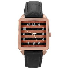 Stripes2 Black Marble & Copper Brushed Metal Rose Gold Leather Watch  by trendistuff