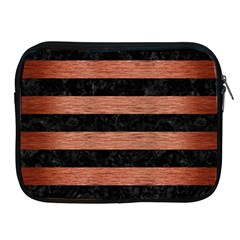 Stripes2 Black Marble & Copper Brushed Metal Apple Ipad Zipper Case by trendistuff