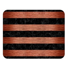 Stripes2 Black Marble & Copper Brushed Metal Double Sided Flano Blanket (large) by trendistuff