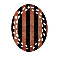Stripes1 Black Marble & Copper Brushed Metal Ornament (oval Filigree)
