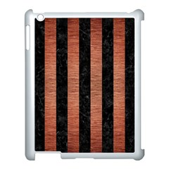Stripes1 Black Marble & Copper Brushed Metal Apple Ipad 3/4 Case (white) by trendistuff