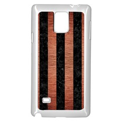 Stripes1 Black Marble & Copper Brushed Metal Samsung Galaxy Note 4 Case (white) by trendistuff