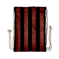 Stripes1 Black Marble & Copper Brushed Metal Drawstring Bag (small) by trendistuff