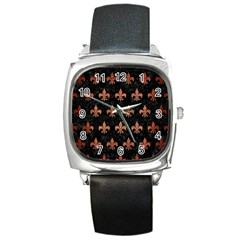 Royal1 Black Marble & Copper Brushed Metal (r) Square Metal Watch by trendistuff
