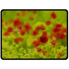 Poppy Iii Double Sided Fleece Blanket (large)  by colorfulartwork